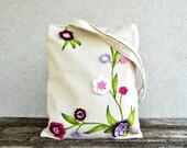 Shoulder Purse bag Zipperes Tote with purple flowers handpainted custom order