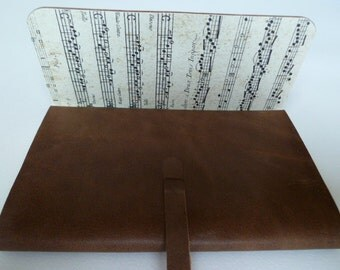 Leather Sketchbook Leather Journal Travel Journal. Light Brown Leather Lined with a Printed Music Score Design.