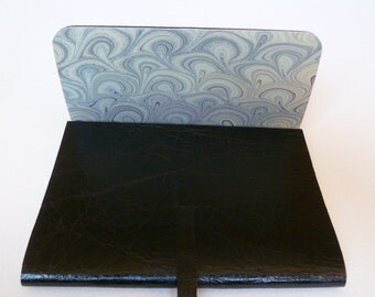 Leather Sketchbook Leather Journal. Travel Journal. Leather Book. Jet Black Shiny Grained Leather Lined with Hand made Marbled Paper.
