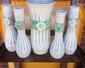 Wedding Vases Wedding Decor Table Decor Vintage Vases Vintage Wedding Decor Shabby Chic Vases Painted Vases Mint Green Wedding Decor