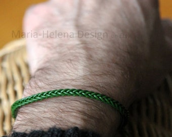 green, navy blue, or black leather weave slim bracelet