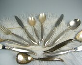 1847 Rogers Bros. Flatware FLAIR Pattern / Silver Plated / Incomplete Set of 40 pieces PLUS Wood Case with Blue Velvet Included