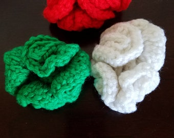 Christmas in July Three Piece Ponytail Holder Set in White, Red and Green