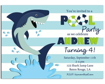 Shark Pool Party Invitation Printable or Printed with FREE SHIPPING - Swim Party, Waterslide, Under the Sea - Shark Pool Collection