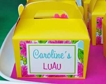 Personalized Luau Treat Favor Tags Printable - Printable or Printed with FREE Shipping - Watercolor Luau Collection