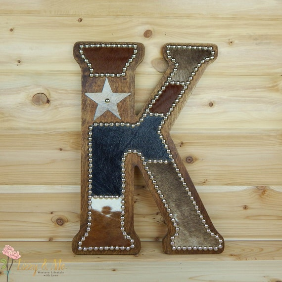 Cowhide Wall Letter K Western Home Decor Wall By LizzyandMe