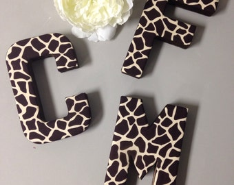 Giraffe Print Fabric Wall Letter