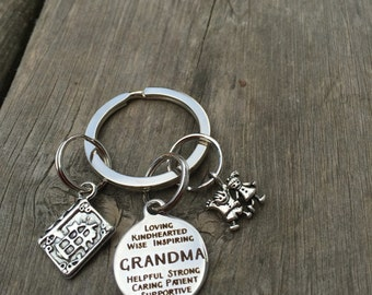 Charming Grandma Grandpa or Mom Stainless Steel Key Chain