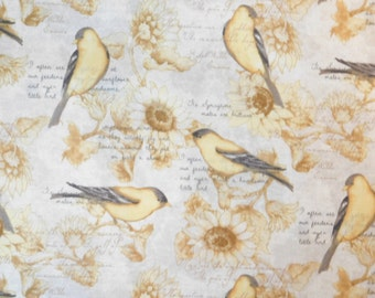 Susan Winget Fabric, Bird Fabric, By The Yard, American Goldfinch Parchment Floral Collection, Quilting Sewing Fabric, Sunflower Fabric
