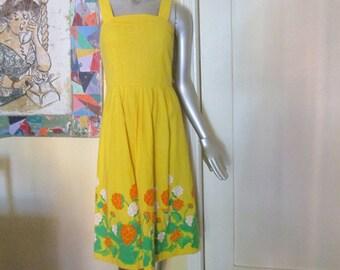 Vintage Yellow Sundress Size 8 / 1970s Malia Cotton Dress Orange Green Floral