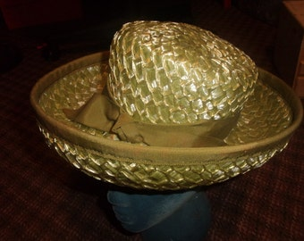vintage ladies hat lime green straw like barnee rolled brim