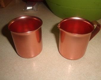vintage creamer sugar bowl color craft anodized aluminum colored copper