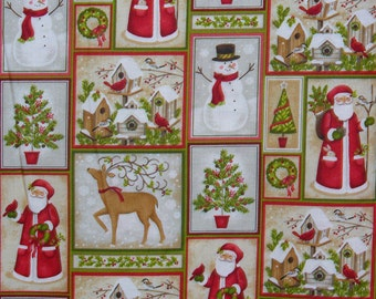 Patchwork Santa Fabric,  Christmas Fabric,  Santa and Snowmen, Santa and Animals, Redbirds and Snowmen, By the Yard