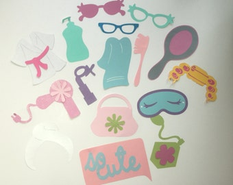 SPA PHOTO BOOTH props, girly party themed, beauty party, photo booth props for girls party event.