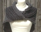 Outlander Inspired Claire's Gray Shawl  Hand crocheted My Version Sassenach Wrap Shaulette Cape Handmade