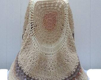 Beige Circular Asymmetric Long Poncho Shawl Handmade Unbalanced Design Caron Cakes Yarn Buttermilk Beige Shades Hand Crocheted Ready To Ship