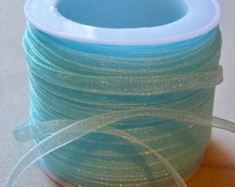 """Pale Blue Organza Ribbon-1/8""""-10 YDS"""