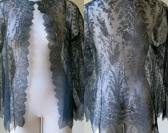 Victorian Black Chantilly Lace Jacket 733a