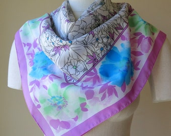 Square Scarf Black and White Floral Line Drawing Accent Orchid Blue Mint Green 933a