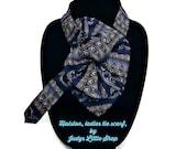 Halston Ladies silk scarf, dark blue grey Silk Necktie Scarf, Upcycled Necktie Necklace Silk Collar, Womans Ascot Scarf, fashion accessory