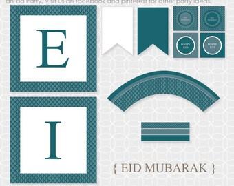 DIY EID Mubarak Party Theme  - Instant Download - Eid banner, Eid party decor, Eid decorations