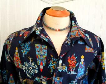 70s Lg Landmark Men's Big Collar Polyester Shirt Navy Blue Floral Print