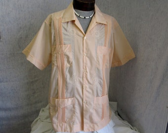 60s 2XL 44 Yucatecas Guayabera Men's S/S Shirt Peach