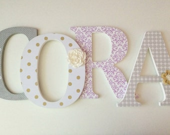 """Nursery wooden  wall letters in lavender,gold  and gray spelling out your  child's name 8 """" wall letters initial monogram"""