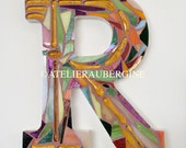 Letter R #  5 stained glass mosaic