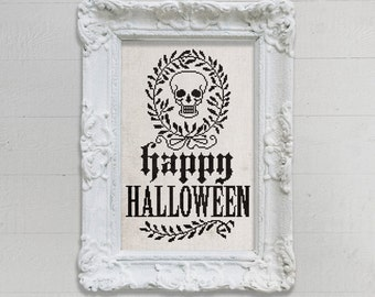PDF Happy Halloween Skull Wreath cross stitch pattern by Dark Crosses at thecottageneedle.com skeleton macabre embroidery