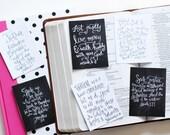 6 Social Justice Scripture Memory Verse 3x4 Chalkboard Encouragement Cards Handlettered DIGITAL Download Bible Verse Notecards