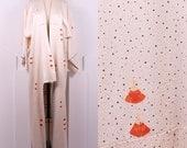 RESERVED Vintage Cream Dotted Kimono • Silk Lined Fan Print Japanese Kimono