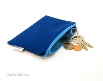 Men's Blue Zip Pouch - Two Tone Blue Zipper Wallet - Pocket Organizer - Guys Wallet - Blue Card Case - Fabric Coin Pouch - Ready to Ship