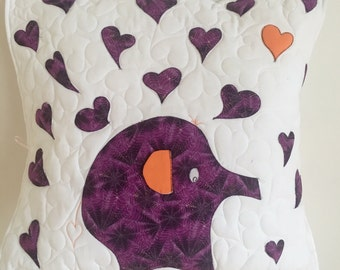 Elephant pillow with 3 Ear and purple hearts (appliqued)