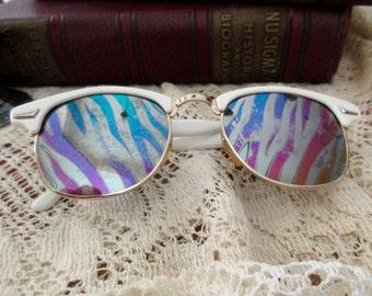 white mirror sunglasses- plastic, glasses, 1980s, made in Taiwan