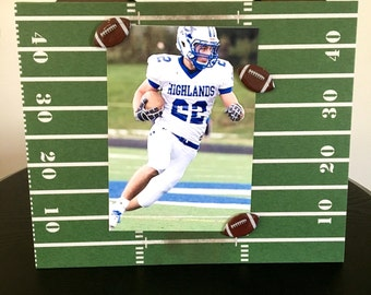 "Football Yard line coach team player college dad fathers day custom gift handmade magnetic picture frame holds 5"" x 7"" photo 9""x 11"" size"