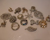 Vintage Brooches Lot of 16 Brooches Figural Flower Brooches Rhinestone Brooch 1 Hair Clip