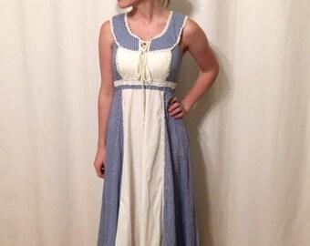 Vintage Gunne Sax Maxi Gingham Prairie Hippie Boho Ruffle Lace Up Dress