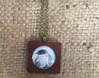 Antique style wooden Hand Drawn Little Birdie Necklace