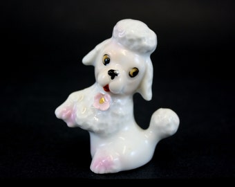 Vintage Small Ceramic Poodle Figurine with Front Legs Up (6360)