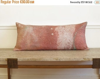ON SALE Bolster pillowcase. Milky Way / Linen decorative lumber pillowcase..  Pink..  /  FRAGMENTS