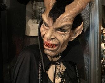 Vintage Satyr Mask Vintage Halloween mask Pan Full Head Horned Satyr Devil Mask at Gothic Rose Antiques