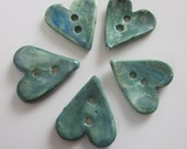5 Small Blue Green Heart Clay Buttons
