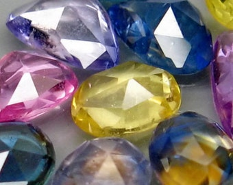 Natural Mix Color Rose Cut Sapphire Faceted Ovals, Pears, Rounds  And Free form 12 Gem Lot, 3.98 Ct T.W, 4 x 4 MM To 6 x 4 MM
