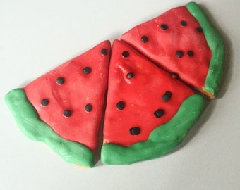 Watermelon Slices - Dog Treats - All Natural Peanut Butter Treats with Yogurt Icing and Sprinkles