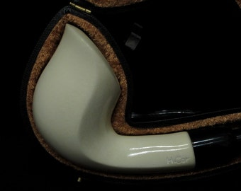 Smooth Bent Cobra Meerschaum pipe Acrylic system w/no screws by H. Cor Gift 5541