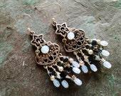 Bohemian chandelier earrings, Bohemian gypsy long Silver chandelier earrings with white opal and gray crystal