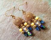 Blue bohemian earrings, Gypsy Bohemian Gold blue sun chandelier earrings