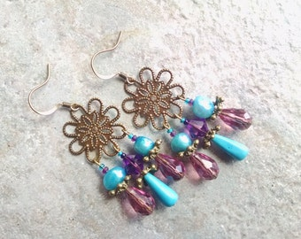 Bohemian turquoise earrings, antique gold turquoise, purple crystal,  pearl chandelier earrings