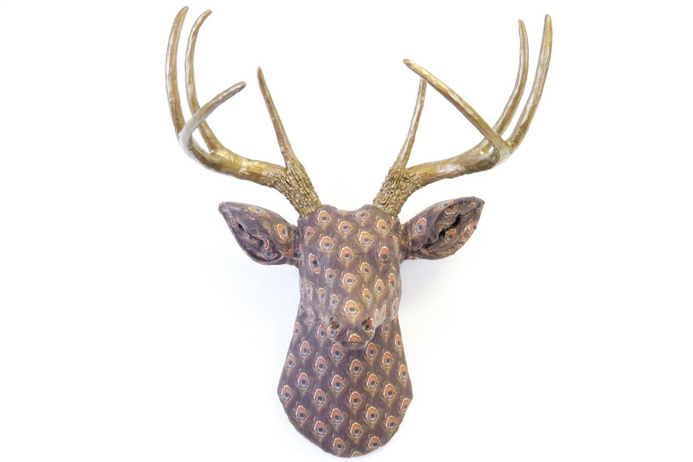 Faux Taxidermy Fabric Deer Head Antlers Wall Mount Peacock